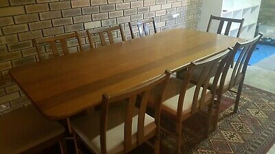 AU1200 • Buy Reduced! Catt Solid Jarrah Dining Setting With 8 Chairs.
