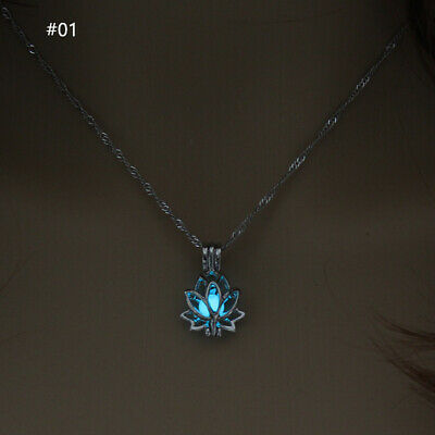 $ CDN3.17 • Buy Luminous Glowing In The Dark Moon Lotus Flower Shaped Pendant Necklace Jewelry