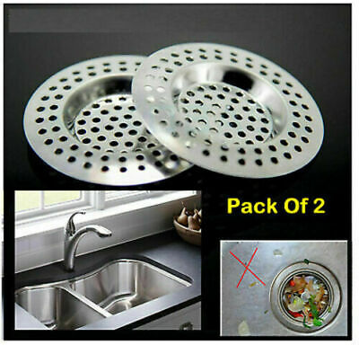 STAINLESS STEEL SINK BATH PLUG HOLE STRAINER DRAINER BASIN HAIR TRAP COVER 2Pc   • 2.61£