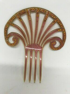 £89.86 • Buy Vintage Art Deco-Celluloid Fan Hair Comb With Amber Rhinestone's