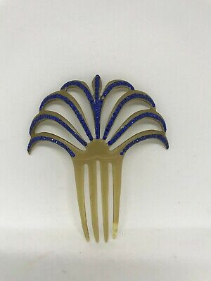 £89.86 • Buy Vintage Early Art Deco Amber Celluloid Fan Hair Comb With Blue Rhinestone's