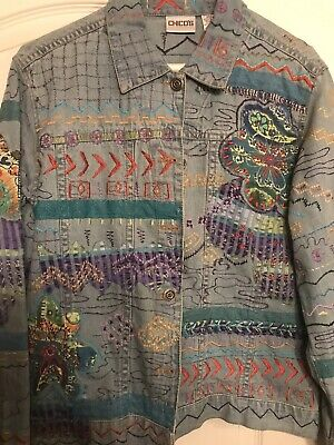 AU12.91 • Buy Chicos Embroidered Denim Jacket Womens Sz 0 Button Front Classic Blue Never Worn