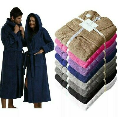 £19.99 • Buy UNISEX 100% EGYPTIAN COTTON TERRY TOWEL SHAWL COLLAR HOODED BATHROBE GOWN 600gsm