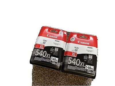 2 Genuine Canon PG-540XL Black Ink Cartridges New • 40£