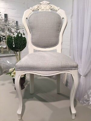 £135 • Buy Shabby Chic Painted Dining Chair In Laura Ashley Fabric Dove Grey
