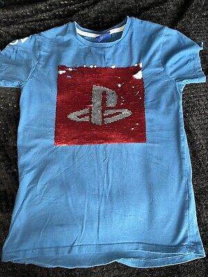 Boys Next Playstation T-shirt Age 9 Yrs Blue Reversible Sequins • 1£