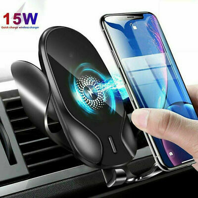 £6.99 • Buy 15W Qi Wireless Charger Fast Charging Automatic Clamping Car Mount Phone Holder