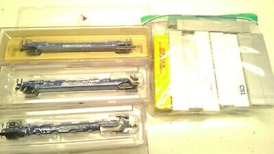 AU79.95 • Buy Lot N Scale CSX INTERMODEL Stack Well Freight Cars With 15 Shipping Containers