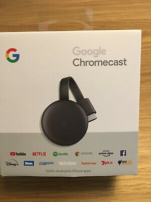 AU46 • Buy Google Chromecast 3rd Gen Charcoal Grey Digital Media Video Stream HD TV