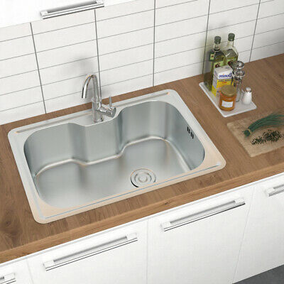 Stainless Steel Inset Kitchen Sink Various Double/Single Bowl + Waste Drainer UK • 46.74£