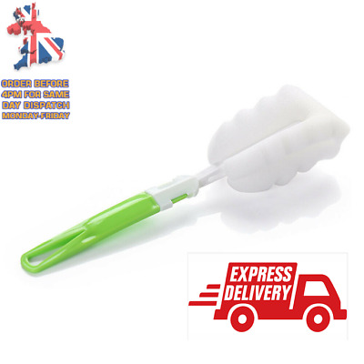 £3.29 • Buy Sponge Brash With Handle Bottle Cup Cleaning  Scrubbing Brush Kitchen Cleaning