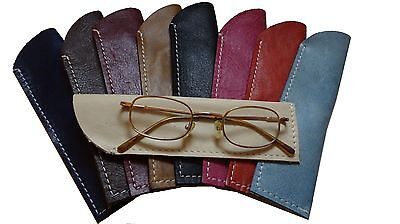 Reading Glasses Case Real Leather Spectacles Pouch Eyecare Hand Crafted U.K • 7.25£