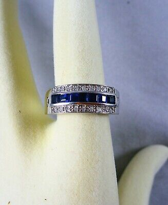 AU975 • Buy Fabulous Vintage Estate 9ct/k White Gold  7 Sapphire And Diamond  Ring