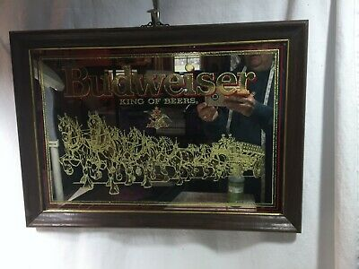 $ CDN25.06 • Buy C1989 Budweiser King Of Beers Clydesdale Wagon Mirror Sign Framed