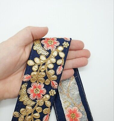 £3.30 • Buy Blue Pink And Gold Indian Floral Embroidered Ribbon Gota Trim Border 55mm 1M