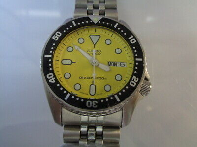 $ CDN53.89 • Buy Seiko Diver Mens Watch Day & Date 7S26-0030 SKX013 Yellow Midsize SN. 6D0598
