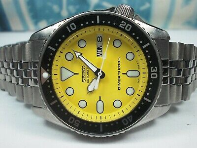 $ CDN147.25 • Buy Seiko Day/date Divers Skx013 Auto Midsize Watch 7s26-0030, Yellow (sn 680665)