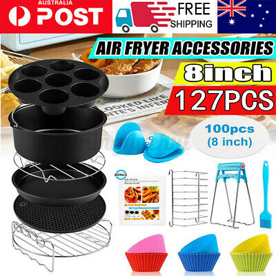 AU23.99 • Buy 127Pcs 8/9 Inch Air Fryer Frying Dish Baking Pan Rack Pizza Tray Pot Accessories