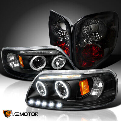 $167.92 • Buy Fit 1997-2004 F150 Pickup Halo Projector Headlights Black+Rear Tail Lamps Smoke