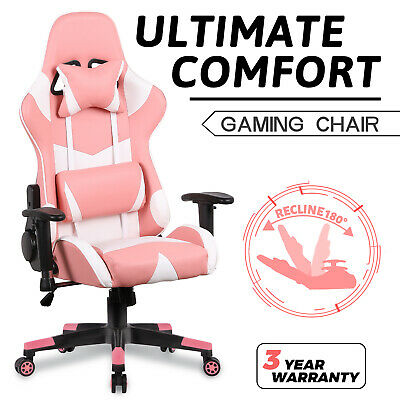 AU139.90 • Buy Computer Gaming Chair Recliner Executive Office PU Leather Seating Racer Pink