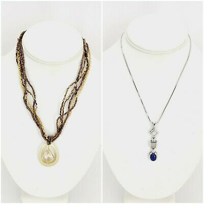 $ CDN21.28 • Buy Lia Sophia Lot Of 2 Necklaces Choker Silver Tone Pendant & Bronze Layering Pendt
