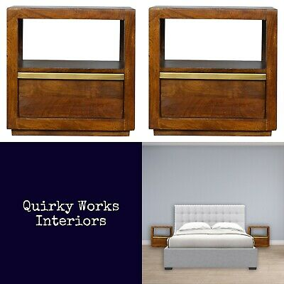 £289 • Buy Pair Stylish Bedside Tables Cabinets Rich Chestnut & Gold Danish Retro Style