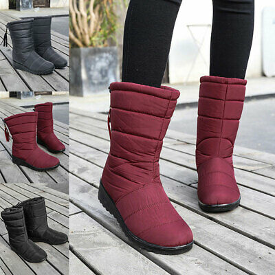 AU34.99 • Buy New Womens Warm Fur Lined Winter Mid Calf Quilted Waterproof Snow Boots Shoes AU