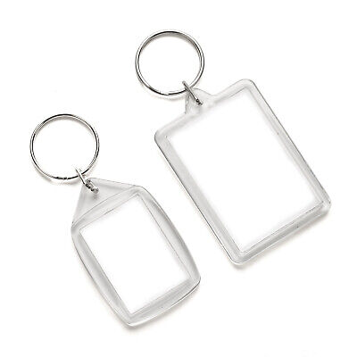 Blank Photo Keyrings Crafts Clear Plastic 10 Pack Acrylic 50 X 35mm 35 X 24mm • 2.49£