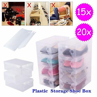 £11.59 • Buy 15/20x Plastic Shoe Storage Boxes Drawer Organiser Clear Container Stackable