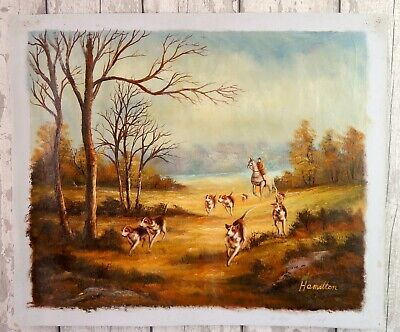 £95 • Buy Vintage Oil Painting Canvas Hunt Hounds Fox Hunting Equestrian Horse Signed #C