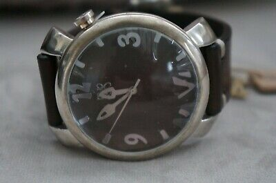 £91.33 • Buy NWT Uno De 50 Handcrafted Brown Leather Silver Large Face Watch SRP $310