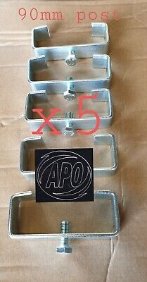 £18.95 • Buy (90mm Post) 5 X Zinc Plated H Section Concrete Fence Post Brackets