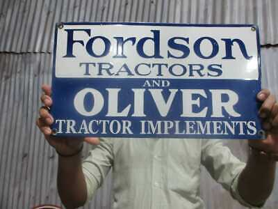 $ CDN100.24 • Buy Porcelain Fordson Tractors And Oliver Enamel Sign Size 18  X 10  Inches