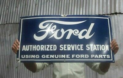$ CDN137.84 • Buy Porcelain Ford Authorized Service Station Enamel Sign Size 30  X 15  Inches