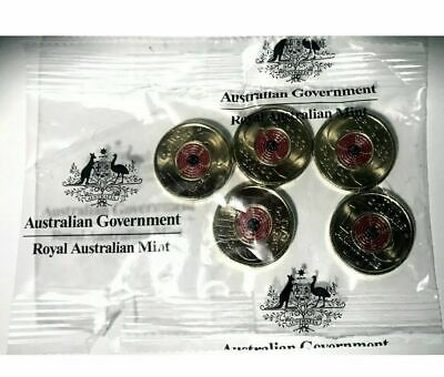 AU0.19 • Buy 2018 $2 Two Dollar Remembrance Day Armistice RAM Bag Of 5 Coins Red Poppy Coins
