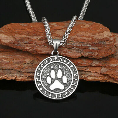 Men's Stainless Steel Norse Viking Odin'Rune&Wolf Paw Pendant Necklace Amulet • 5.79£