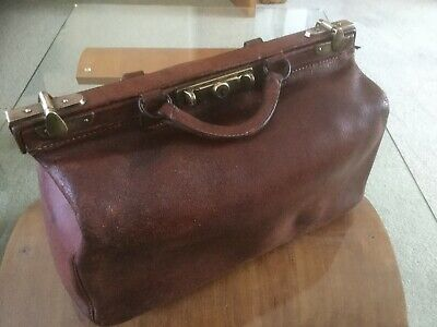 Vintage Tan Leather Gladstone Doctors Bag Case With Brass Catches • 55£