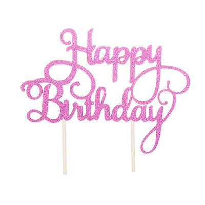 £1.85 • Buy Happy Birthday Cake Topper Glitter Bling Calligraphy Sparkle Decoration Party