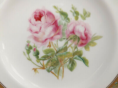 19th Century Victorian Minton Hand Painted Pink Rose Cabinet Plate • 74.99£