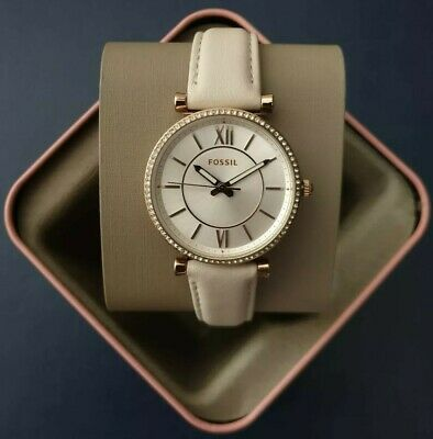 $ CDN103.62 • Buy Fossil Carlie Three-Hand Winter White Leather WatchES4465