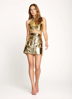 AU270 • Buy Bnwt Alice Mccall Gold Cool Cat Skirt - Size 8 Au/4 Us (rrp $395)