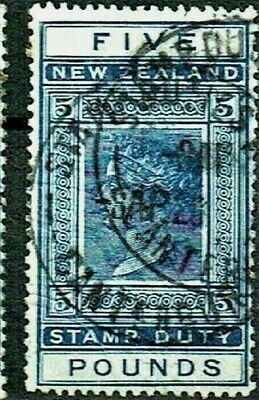 AU39.99 • Buy 🦋 New Zealand - Queen Victoria - Stamp Duty - 5 Pounds - Blue - Canterbury