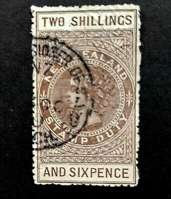 AU6.33 • Buy 🦋 NEW ZEALAND - QUEEN VIC - TWO SHILLINGS & 6 Pence - STAMP DUTY - CANTERBURY