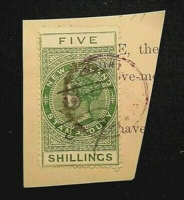 AU7.25 • Buy 🦋1882 New Zealand - Queen Victoria - Stamp Duty - 5 Shillings - Green - Used