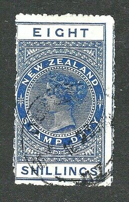 AU32 • Buy 🦋.new Zealand - Queen Victoria - Stamp Duty - Rare 8 Shillings - Postmarked