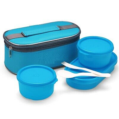 $ CDN41.09 • Buy Set Of 3 Double Decker Lunch Box With Spoon,Fork&Fabric Bag- Blue,Color May Vary