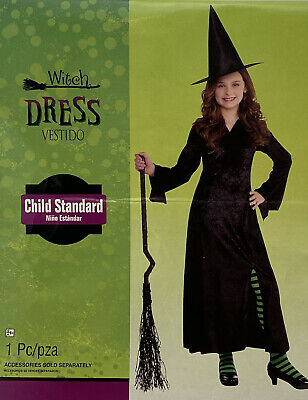$ CDN16.23 • Buy Girls Black Witch Costume Traditional Long Witches Kids Halloween Fancy Dress