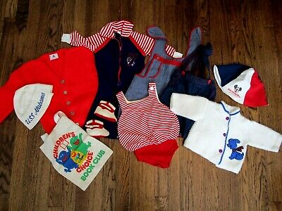 AU51.01 • Buy Vintage 1950s-70s Childrens Clothing Lot Red White Blue Romper Hat Overalls Swim