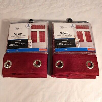 $16.73 • Buy Mainstays Burgundy Kitchen Small Window Set. Curtain Panels 36 In. LOT OF 2 SETS