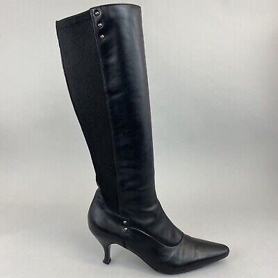 £53.19 • Buy Russell & Bromley Aquatalia Knee High Black Stretch Leather Zip Up Boots UK5.5